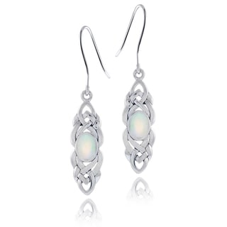 Glitzy Rocks Sterling Silver Mother of Pearl Celtic Weave Dangle Earrings