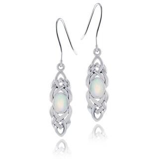 Glitzy Rocks Sterling Silver Mother of Pearl Celtic Weave Dangle Earrings