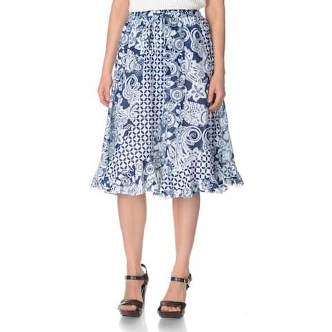 La Cera Women's Printed Cotton Peasant Skirt