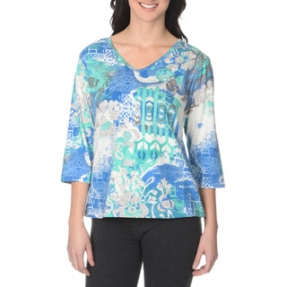 La Cera Women's Multi Print Tunic