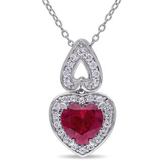 Miadora Silver Created Ruby and Created White Sapphire Heart Necklace