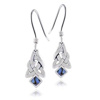 Glitzy Rocks Sterling Silver Abalone Celtic Knot Dangle Earrings