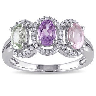 Miadora Sterling Silver Multi-gemstone 1/5ct TDW Diamond 3-stone Ring (G-H, I2-I3)