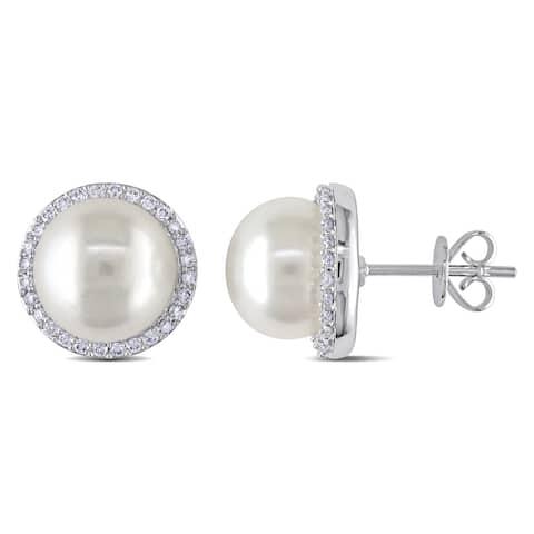 Miadora 14k White Gold Freshwater Pearl 1/3ct TDW Diamond Halo Earrings (G-H, I1-I2) (9.5-10mm)