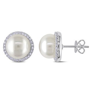 Miadora 14k White Gold Freshwater Pearl 1/3ct TDW Diamond Halo Earrings (G-H, I1-I2) (9.5-10mm)