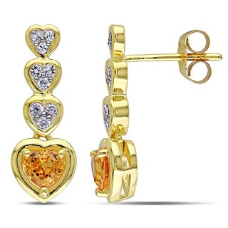 Miadora 10k Yellow Gold Yellow and White Sapphire Dangle Heart Earrings
