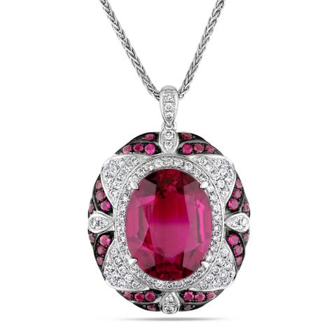 Miadora Signature Collection 14k White Gold Rubelite 7/8ct TDW Diamond Necklace (G-H, SI1-SI2)
