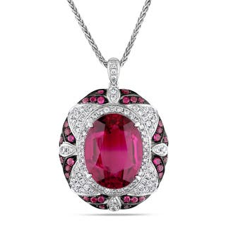 Miadora Signature Collection 14k White Gold Rubelite 7/8ct TDW Diamond Necklace (G-H, SI1-SI2)|https://ak1.ostkcdn.com/images/products/10056604/P17201276.jpg?impolicy=medium