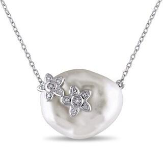 Miadora Sterling Silver White Keishi Pearl Diamond Accent Necklace (17.5-18 mm)