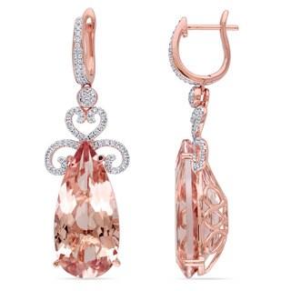 Miadora Signature Collection 14k Rose Gold Morganite 3/4ct TDW Diamond Earrings (G-H, SI1-SI2)