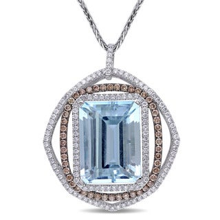 Miadora Signature Collection 14k White Gold Aquamarine 2 1/4ct TDW Brown and White Diamond Necklace (G-H, SI1-SI2)