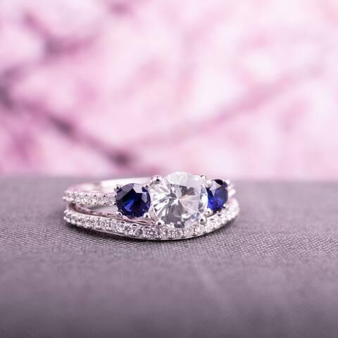 Miadora 10k White Gold Created White and Blue Sapphire 1/3ct TDW Diamond Bridal Ring Set