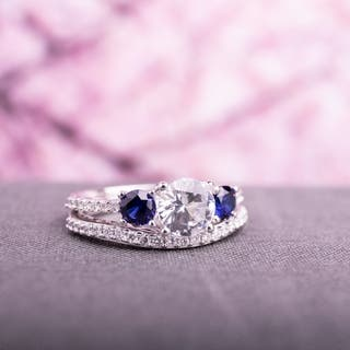 miadora 10k white gold created white and blue sapphire 13ct tdw diamond bridal ring - Engagement Wedding Ring Set