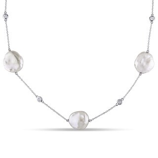 Miadora Sterling Silver Pink Keshi Pearl and White Topaz Station Necklace (16-16.5 mm)
