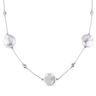Miadora Sterling Silver White Keishi Pearl and White Topaz Station Necklace (16-16.5 mm)
