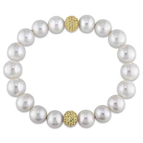 Miadora 14k Yellow Gold Freshwater Pearl and Yellow Sapphire Elastic Bracelet (11-12 mm)