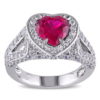 Miadora Sterling Silver Created Ruby and Created White Sapphire Heart Ring