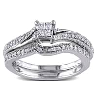 Miadora 10k White Gold 1/4ct TDW Diamond Princess-cut Bridal Ring Set