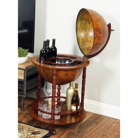 Wood World Globe Bar