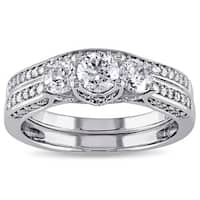 Miadora Signature Collection 14k White Gold 1 1/10ct TDW Diamond 3-stone Bridal Ring Set