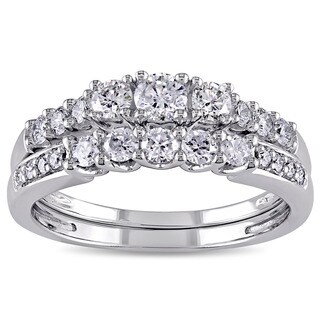 Miadora Signature Collection 14k White Gold 4/5ct TDW Diamond 3-stone Bridal Ring Set