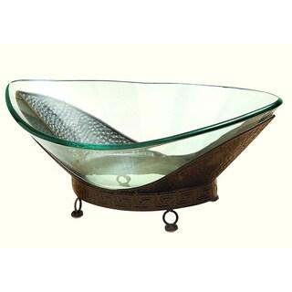 Oliver & James Buri Oval Glass Bowl on Metal Stand