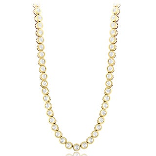 14k Gold Bezel Set 4 3/4ct TDW Round Diamond Chain Necklace