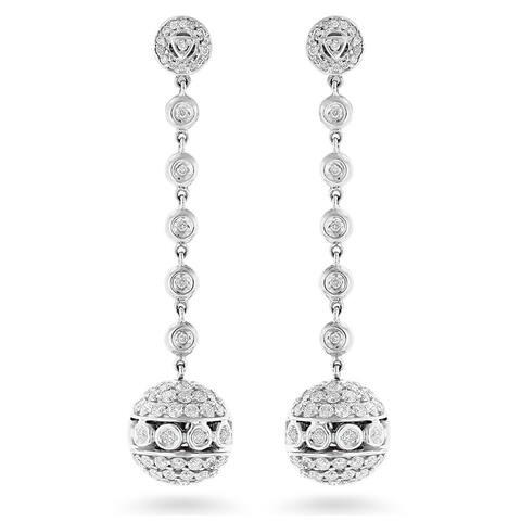 14k White Gold 3ct TDW Diamond Globe Dangle Earrings