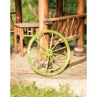 Decorative Antique Green Wagon Garden Wheel
