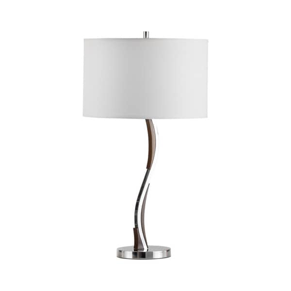 Serpentine Chrome and White Linen Modern 1-light Table Lamp