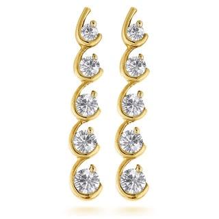 Luxurman 14k Gold 1 1/3ct TDW Diamond Journey Earrings