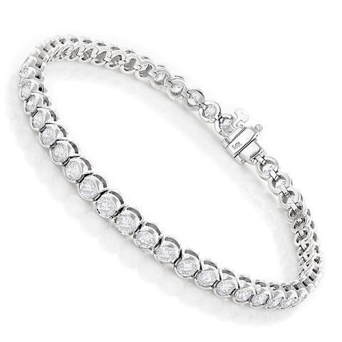 Luxurman 14k Gold 6ct TDW Diamond Half Bezel Setting Tennis Bracelet