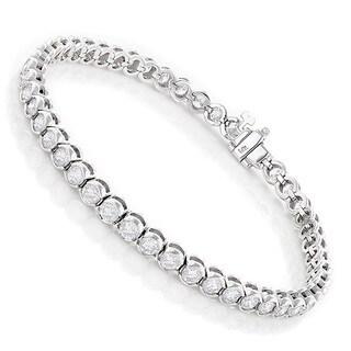 Luxurman 14k Gold 6ct TDW Diamond Half Bezel Setting Tennis Bracelet (H-I, VS1-VS2)