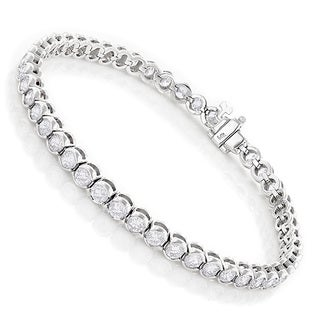 Luxurman 14k Gold 6ct TDW Diamond Half Bezel Setting Tennis Bracelet (H-I, VS1-VS2)