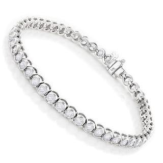 Luxurman 14k Gold 6ct TDW Diamond Half Bezel Setting Tennis Bracelet|https://ak1.ostkcdn.com/images/products/10056707/P17201460.jpg?impolicy=medium