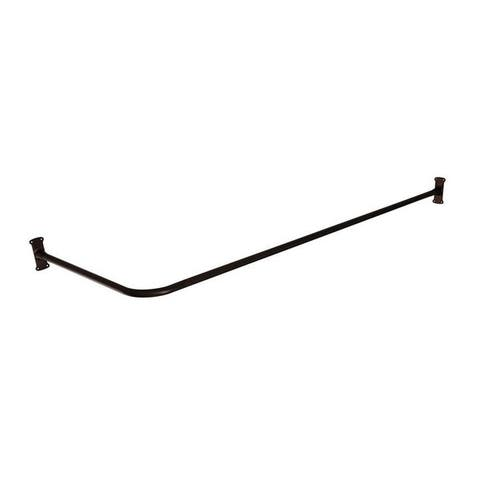 Never Rust Aluminum L-Shaped Corner Shower Rod with - Dark Rubbed Bronze - Black