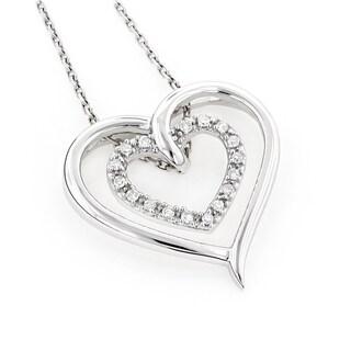 Luxurman 10k Gold 1/8ct TDW Diamond Double Heart Pendant (H-I, SI1-SI2)