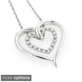 Luxurman 10k Gold 1/8ct TDW Diamond Double Heart Pendant (H-I, SI1-SI2)