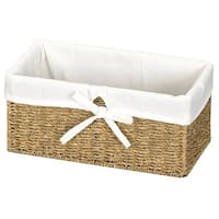 Vintiquewise Seagrass Shelf Basket with White Lining