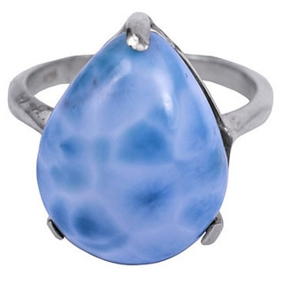 Blue Sterling Silver Pear-shaped Larimar Cocktail Ring (Size 7)