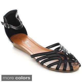 Fashion Focus 'Mona' Women's Caged Gladiator Buckled Flat Sandals