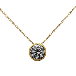 Gioelli 14k Yellow Gold 6mm Round-cut Cubic Zirconia Necklace