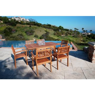 Malibu Eco-friendly 7-piece Wood Outdoor Dining Set