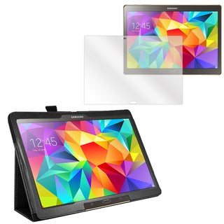 Black Faux Leather Folio Case and Screen Protector for Samsung Galaxy Tab S 10.5