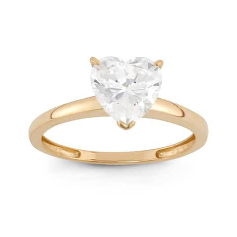 10k Gold 1 3/4ct TGW Heart Shape Solitaire Ring