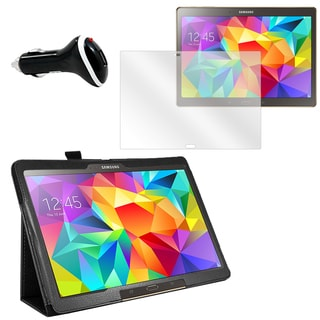 Black Faux Leather Folio Case/ Screen Protector/ Car Charger Bundle for Samsung Galaxy Tab S 10.5