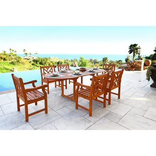 Malibu Eco-Friendly 7-Piece Rounded Outdoor Dining Set