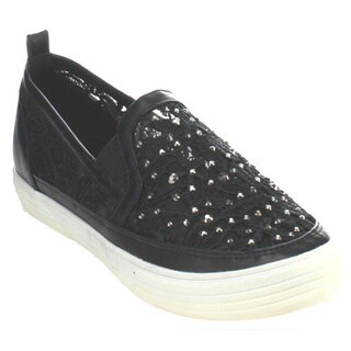 Nature Breeze Kicker-07 Women's Rhinestone Lace Fabric Flats Sneaker (As Is Item)