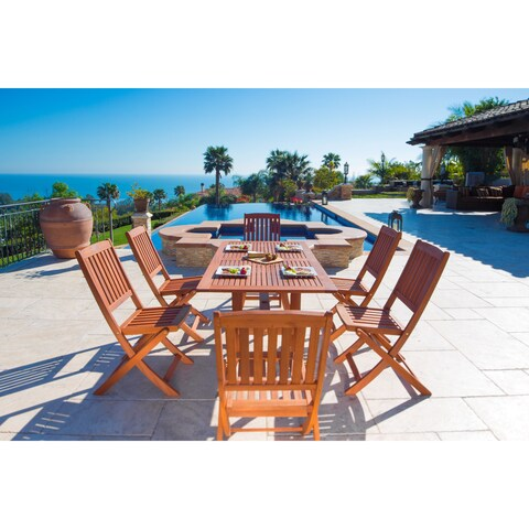 The Gray Barn Bluebird Eco-friendly 7-piece Wood Outdoor Dining Set with Foldable Armchairs
