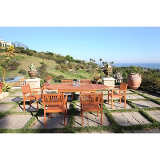 Malibu Eco-friendly 7-Piece Wood Outdoor Dining Set with Stacking Chairs